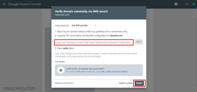 ثبت سایت در گوگل به روش تنظیم DNS