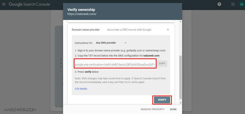 ثبت سایت در گوگل به روش Domain Name Provider